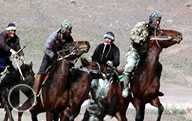 Video: Kopkari: Headless Goat Carcass Polo - Traditional Central Asian Horseback Game