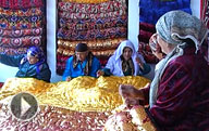 Traditional Uzbek Mattress Kurpacha Production Process. Uzbek Customs and Traditions.